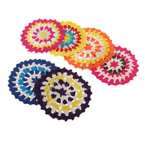 6pc 11cm Hand Crochet Cotton Lace Table Placemat Doilies Round Christmas Mat