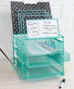 Desk Top Organizer With Dry Erase Board File Tray Paper Sorter Mineral Green