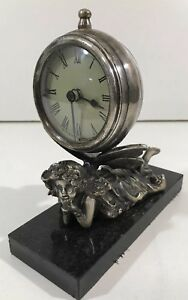Collectible Handmade Carving Statue Fairy Metal Mechanical Clock Art Deco