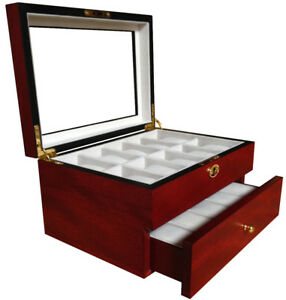 20 Wood Watch Display Jewelry Collector Case Gift Storage Box Cherry 1672c