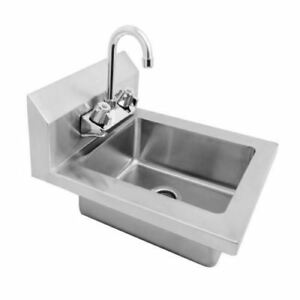 New Wall Mount Hand Sink Stainless Steel W Faucet Space Saver 14 W X 16 5 D