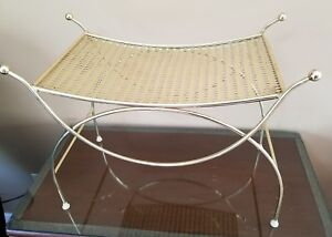Vintage Goldtone Hollywood Regency Vanity Stool Bench Pansy Seat Cushion Cover
