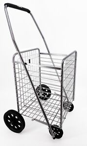Folding Shopping Cart For Grocery Laundry Cart Size 35 X 21 X 16 Inches gray