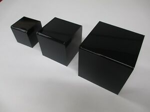 3 4 5 Black Acrylic 5 sided Display Risers 3pc Set