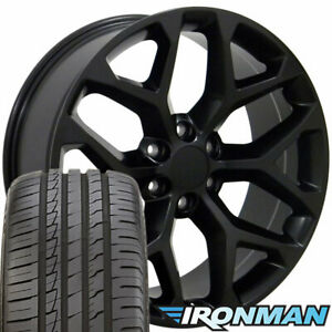 22 Rims Tires Fit Gm Chevy Sierra Silverado Satin Black Wheels Ironman 5668