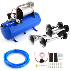 4 Trumpet Car Train Truck Air Horn 12v Compressor Kit hose Tank Gauge Loud