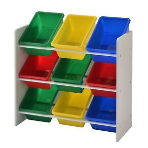 Kids Toy Storage Organizer Bin Rack With 9 Bins Muscle Rack