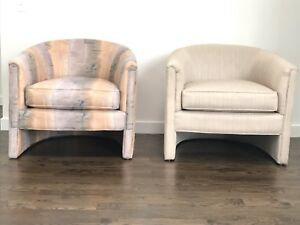 Mid Century Pair Of Milo Baughman Style Barrel Back Lounge Chairs