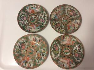 19 C Antique Chinese Export Rose Medallion 4 Small Plates 5 7 8
