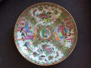 1850 Antique Chinese Export Rose Medallion Serving Bowl