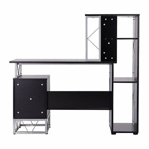 Homcom 52 Multi Level Computer Workstation Desk Tower Shelves Black