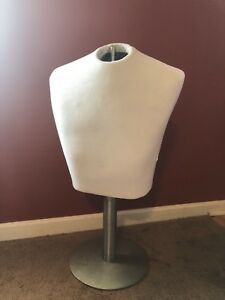 White Male Torso Mannequin With Metal Base Dress Form