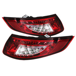 Porsche 05 08 997 911 Carrera Gt2 Gt3 Red Clear Led Tail Brake Light Luxury Set