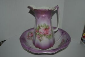 Large Vintage Victorian Pitcher Wash Bowl Basin White With Rose Floral Accents