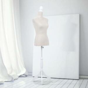 Female Mannequin Dress Body Form Simple Cover Tripod Wooden Base Beige C8o7