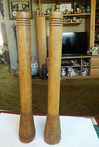 Primitive Large Spool Candle Holder Turned Top Bottom 13 3 4 Inches High