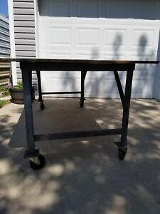 Heavy Duty Steel Rolling Work Bench Welding Tables With Casters Plywood Top