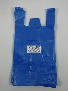 500 Qty Blue Plastic T shirt Retail Shopping Bags W Handles 8 x5 x16 Sm