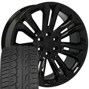 22 Rims Tires Fit Gm Chevy Sierra Silverado Black Wheels Ironman Tires 5666