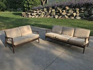 Mid Century Vintage Walnut Base Sofa And Loveseat