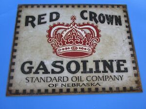 Tin Metal Gasoline Service Station Man Cave Advertising Decor Gas Oil Red Crown