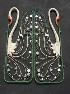 Vintage Pair Of Iron Garden Gates With Cranes For Garden Or Wall Hanging