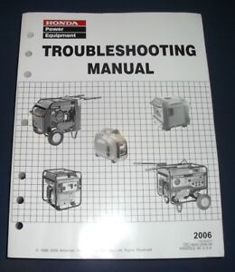 Honda Ex4500s El5000 Eu2000i Ems4500 Generator Troubleshooting Shop Manual 2006