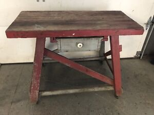 Antique Vintage Work Bench Table W Drawer Primitive Original Thick Top Very Old