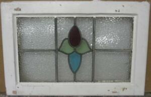 Mid Sized Old English Leaded Stained Glass Window Abstract Floral 24 X 15 75