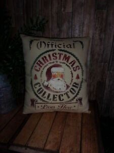 Primitive 10x12in Christmas Collector Pillow Stuffed Country Old Rusty Doll