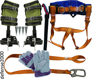 Tree Climbing Spike Set Safety Belt Lanyard 10 Pruning Saw Gloves