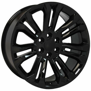 22 Rims Tires Fit Gm Chevy Sierra Silverado Black Wheels Gy 5666