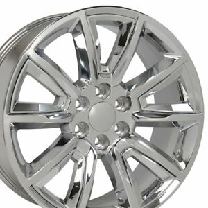 20x8 5 Wheels Fit Yukon Tahoe Chevy Chrome W chrome Rims 5696 W1x Set