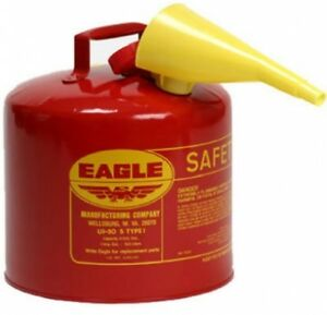 Safety Gas Can Funnel 5 Gallon Red Galvanized Steel Type I 13 5 H 12 5 Diam