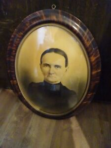 Antique Oval Convex Domed Glass Wood Picture Frame Tiger Striped Wood Vintage