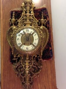 Antique French Gothic Bronze Cartel Cathedral Large 32 Wall Clock Heavy