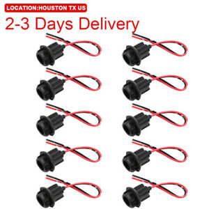 Us Location 10pcs T10 194 2825 Wiring Harness Socket Extension Fit For Pigtail