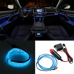 12v 3m Led Light Glow Neon El Wire Strip Rope Tube Car Dance Party Decor Blue