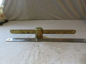 Vtg Early Antique Scale Brass Beam W Slide Weight Sliding 10 Lb 15 Dr Medical