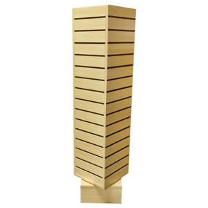 12 Inch X 12 Inch X 54 Inch Maple Revolving Slatwall 4 Sided Rotating Display