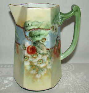 Antique Victorian Hand Painted Cherries Cherry Blossoms 7 1 2 Pitcher