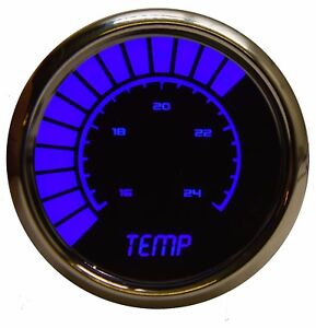 2 1 16 Universal Analog Water Temp Gauge Blue Leds Chrome Bezel Made In The Us