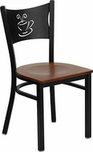 New Metal Coffee Restaurant Chairs Cherry Wood Seat 20 Chairs free Shipping