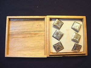 Set Of 6 Vintage 1940 S Japanese Engraved Sterling Cuff Link Buttons In Box