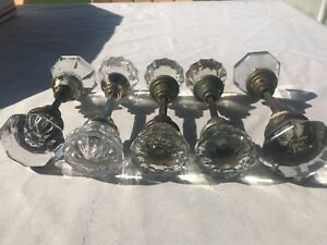 Lot Of 5 Sets 10 Knobs Glass Crystal Vintage Art Deco Style Door Knobs