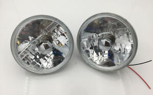 7 Inch Round Sealed Beam Glass Clear Lens Headlights H4 Bulbs H6024 H6014 Pair
