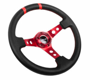 Nrg Steering Wheel 350mm Red Center Black Leather 3 Deep Dish double Marker