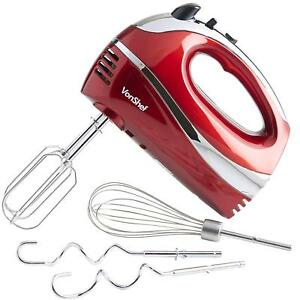 Vonshef 250w 5 Speed Hand Mixer Whisk With Turbo And Stainless Steel Attachments
