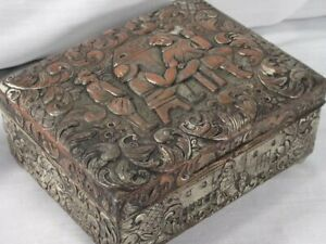 Antique Silverplate Hammered On Copper Repousse Box Relief Medieval Figures Wood