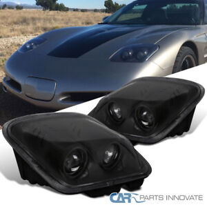 For 97 04 Chevy Corvette C5 Replacement Projector Matte Black Headlights Lamps